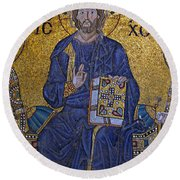 Jesus Christ Mosaic Round Beach Towel