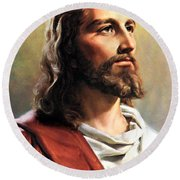 Jesus Christ Round Beach Towel by Munir Alawi