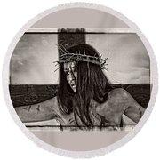 Jesus Christ Portrait Round Beach Towel