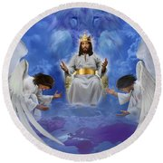 Jesus Enthroned Round Beach Towel by Tamer and Cindy Elsharouni