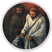 Jesus Healing Beggar Round Beach Towel