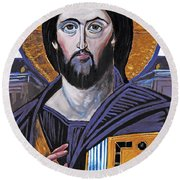 Jesus Icon Round Beach Towel