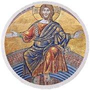 Jesus Mosaics Round Beach Towel