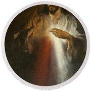 Jesus Of Divine Mercy Round Beach Towel