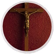 Jesus On Cross Against Red Wall Round Beach Towel