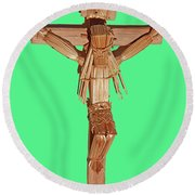 Jesus On The Cross In Mexico 1925 Round Beach Towel