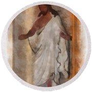Jesus Photo Art Round Beach Towel