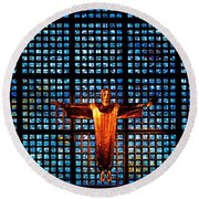 Jesus Sculpture And Blue Glass Background Round Beach Towel