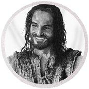 Jesus Smiling Round Beach Towel