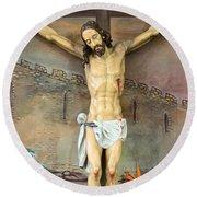 Jesus Statue At Latin Church In Taybeh Round Beach Towel