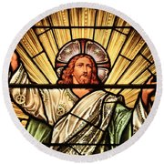 Jesus - The Light Of The Wold Round Beach Towel
