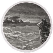 Jesus Walking On The Sea John 6 19 21 Round Beach Towel by Gustave Dore