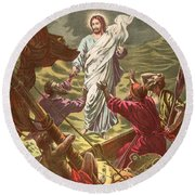 Jesus Walking On The Water Round Beach Towel