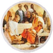 Jesus Washing Apostle's Feet Round Beach Towel