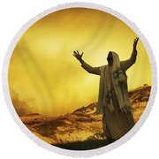 Jesus With Arms Stretched Towards Heaven Round Beach Towel