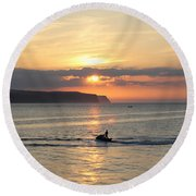 Jet Bike Sunset Round Beach Towel