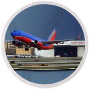 Jet Chicago Airplanes 12 Out Of Bounds Round Beach Towel