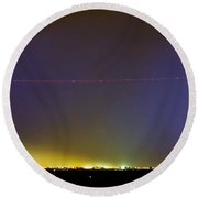 Jet Over Colorful City Lights And Lightning Strike Panorama Round Beach Towel by James BO  Insogna