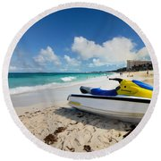 Jet Ski On The Beach At Atlantis Resort Round Beach Towel
