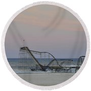 Jet Star At Dusk Round Beach Towel by Terry DeLuco