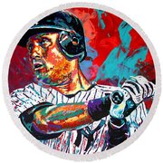 Jeter At Bat Round Beach Towel