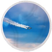 Jetfighter With Smoke Trail. Round Beach Towel