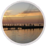 Jetty In The Eveninglight Round Beach Towel