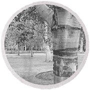 Jewel In The Woods In Black And White Round Beach Towel