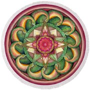 Jewel Of The Heart Mandala Round Beach Towel