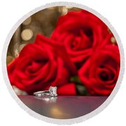 Jewelry And Roses Round Beach Towel
