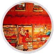 Jewish Culture In Montreal Paintings Of Warshaw's Fruit Store On St.lawrence Street Scene Art  Round Beach Towel