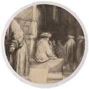 Jews In The Synagogue Round Beach Towel