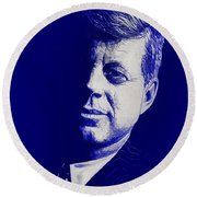 Jfk - Blue Round Beach Towel