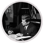 Jfk Signing The Cuba Quarantine Round Beach Towel by War Is Hell Store