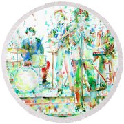 Jim Morrison And The Doors Live On Stage- Watercolor Portrait Round Beach Towel