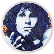 Jim Morrison Chuck Close Style Round Beach Towel