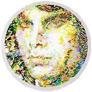 Jim Morrison Watercolor Portrait.2 Round Beach Towel