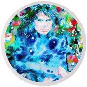 Jim Morrison Watercolor Portrait.3 Round Beach Towel