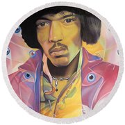 Jimi Hendrix Eyes Round Beach Towel