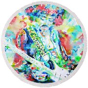 Jimi Hendrix Playing The Guitar.2 -watercolor Portrait Round Beach Towel
