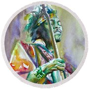 Jimi Hendrix Playing The Guitar.5 -watercolor Portrait Round Beach Towel