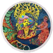 Jimi Hendrix Rainbow Bridge Round Beach Towel