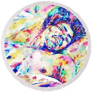 Jimi Hendrix Sleeping - Watercolor Portrait Round Beach Towel