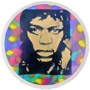 Jimi Hendrix Squared Round Beach Towel