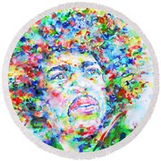 Jimi Hendrix  - Watercolor Portrait.3 Round Beach Towel