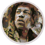 Jimmy Hendrix Round Beach Towel