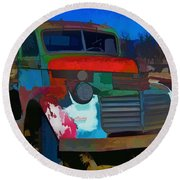 Jimmy In Taos - Abstract Round Beach Towel