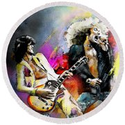 Jimmy Page And Robert Plant Led Zeppelin Round Beach Towel by Miki De Goodaboom