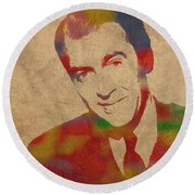 Jimmy Stewart Watercolor Portrait On Worn Distressed Canvas Round Beach Towel by Design Turnpike