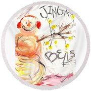 Jingle Bells Round Beach Towel